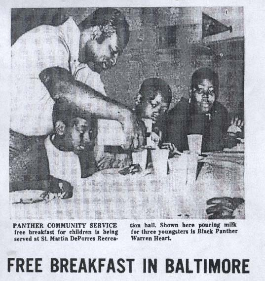 """Historic photo of the Black Panther Party's """"Free Breakfast for School Children Program"""""""