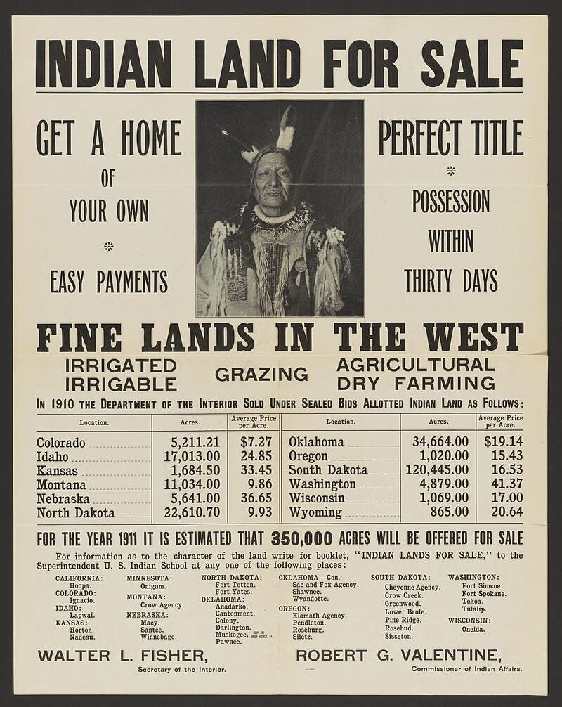 """Poster advertising """"Indian Land for Sale"""""""